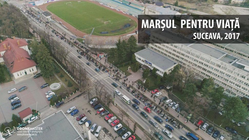 Marsul pentru viata, 2017, Suceava, fotografie aeriana, zona stadionului Areni