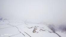 Schitul Salas, fotografie aeriana pe timp de ceata, de la altitudinea de maxim 50m.