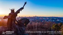 Statuia ecvestra a lui Stefan cel Mare, Suceava, fotografie aeriana
